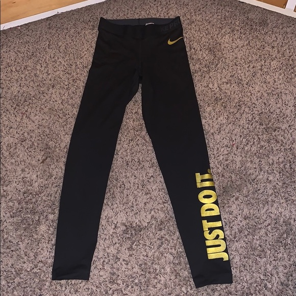 04c23a25bf637 Nike Pants | Black And Gold Just Do It Leggings | Poshmark